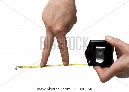 hand with a rule isolated on white background