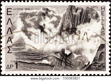 GREECE - CIRCA 1973: A stamp printed in Greece shows Mount Olympus