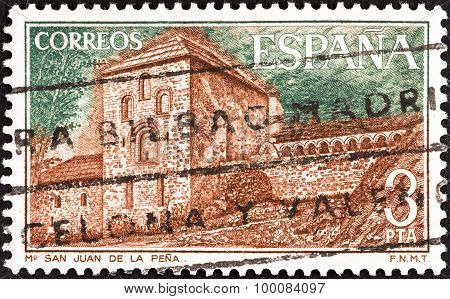 SPAIN - CIRCA 1975: A stamp printed in Spain shows San Juan de la Pena Monastery.