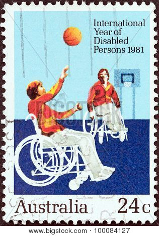 AUSTRALIA - CIRCA 1981: A stamp printed in Australia shows Wheelchair basketball game