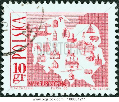 POLAND - CIRCA 1966: A stamp printed in Poland shows Tourist Map, circa 1966.