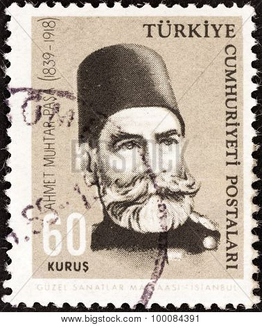 TURKEY - CIRCA 1964: A stamp printed in Turkey Ahmet Muhtar Pasha (125th birth anniversary)