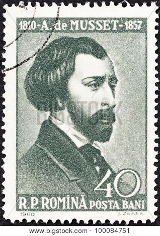 ROMANIA - CIRCA 1960: A stamp printed in Romania shows Alfred de Musset