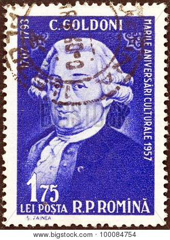 ROMANIA - CIRCA 1957: A stamp printed in Romania shows Carlo Goldoni