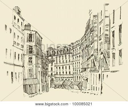 streets in Paris, France, vintage engraved illustration, hand drawn