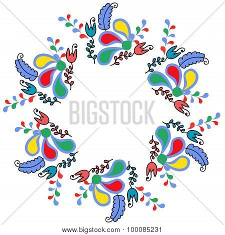 Colorful Cute Floral Frame Or Ornament, Vector Illustration