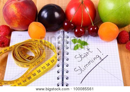 Fruits, Vegetables And Centimeter With Notebook, Slimming And Healthy Food