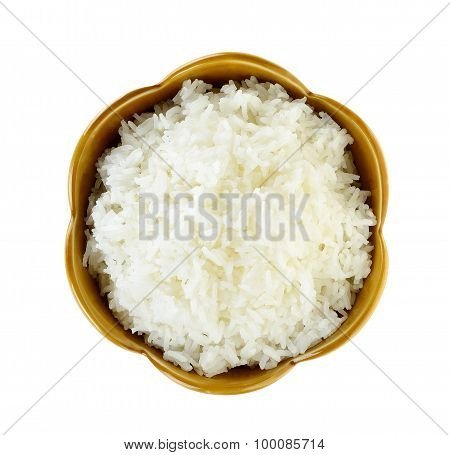 Rice In A Bowl Isolated On A White Background