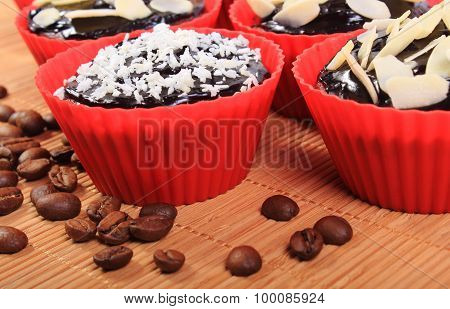 Chocolate Muffins With Desiccated Coconut And Almonds, Coffee Grains