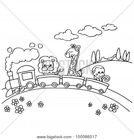 Animal Train Coloring vector