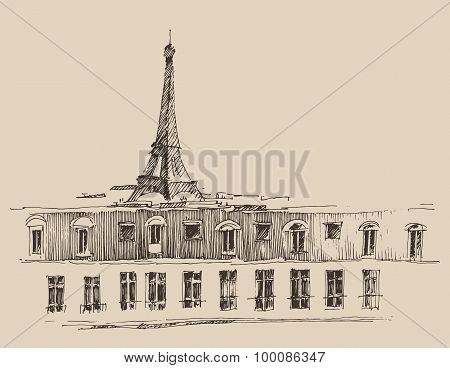 Eiffel Tower in Paris France, city architecture, vintage engraved illustration, hand drawn