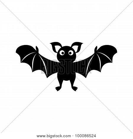 Cute Bat Silhouette Icon