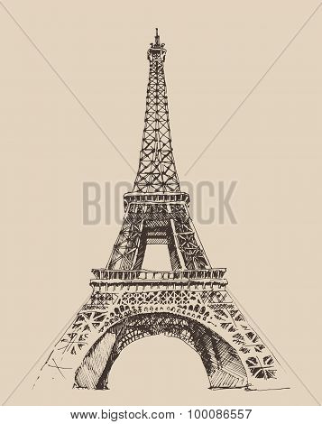 Eiffel Tower, Paris France architecture, vintage engraved illustration, hand drawn