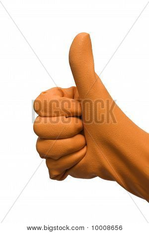 hand with rubber glove isolated on white background