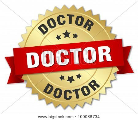Doctor 3D Gold Badge With Red Ribbon