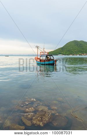 Fishing Boat Floating On The Sea