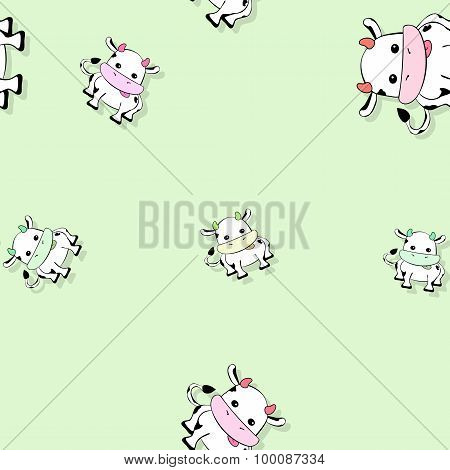 Seamless Cow Pattern With Drop Shadow On Green