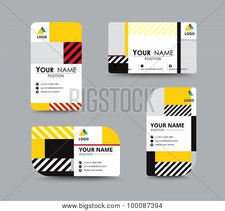 Modern Business Card And Name Card Design. Contempolary Design With Sample Content. Vector Illustrat