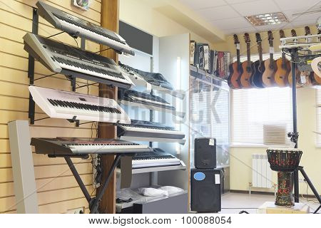 Guitars in shop of musical instruments