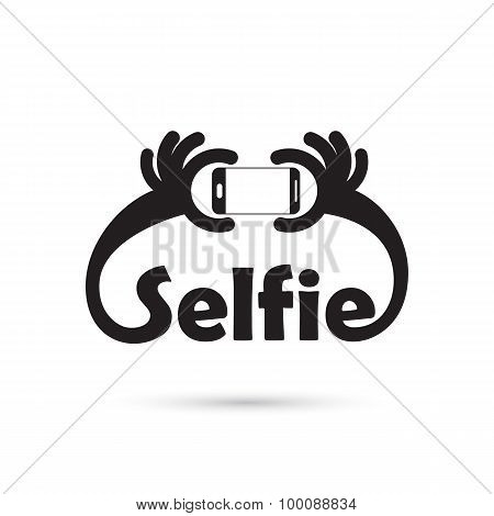 Taking Selfie Portrait Photo On Smart Phone Concept Icon. Selfie Concept Design Element.