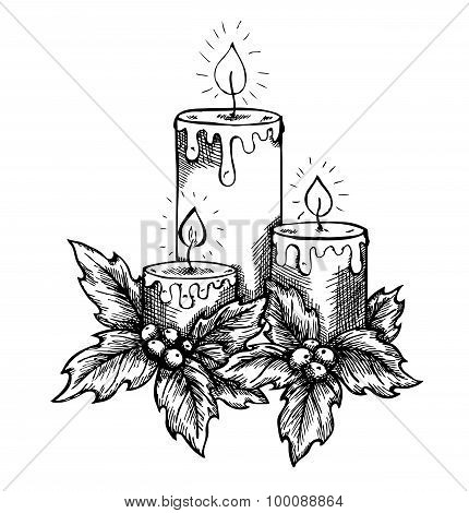 Graphic Drawing Candles And Holly Berries And Leaves. Sketch Freehand Pen And Ink