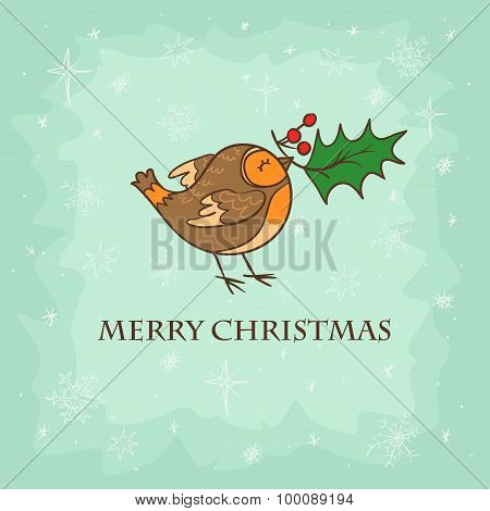 Christmas card with bird