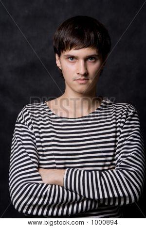 Man In Striped Vest