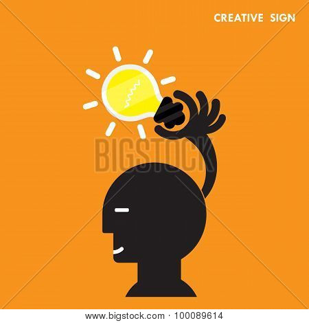 Head And Creative Bulb Light Idea,flat Design.concept Of Ideas Inspiration, Innovation, Invention