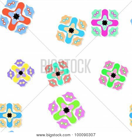 Seamless Pattern With Colored Ornaments On White