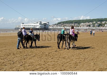 Donkey Riding At Weston-super-mare