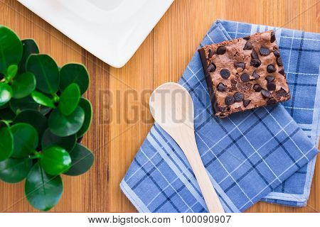 Top view of Cookies on a cloth on a wooden table composition perfectly