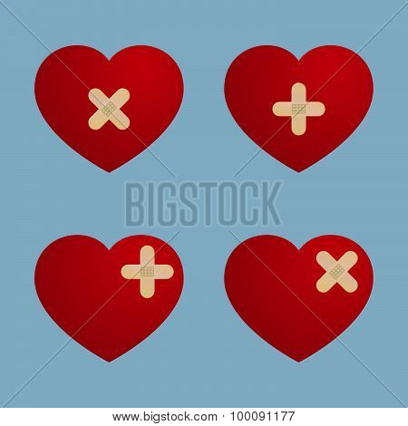 Heart With Plaster Design