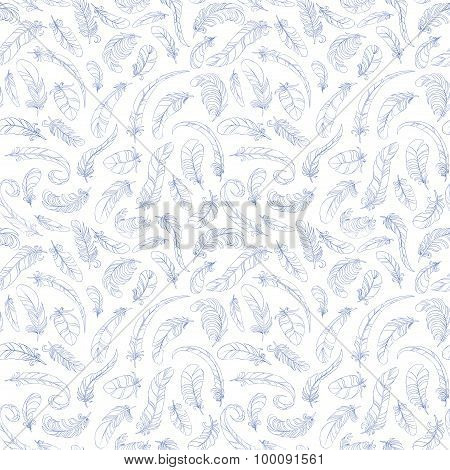 white flying feathers seamless pattern. light vector background