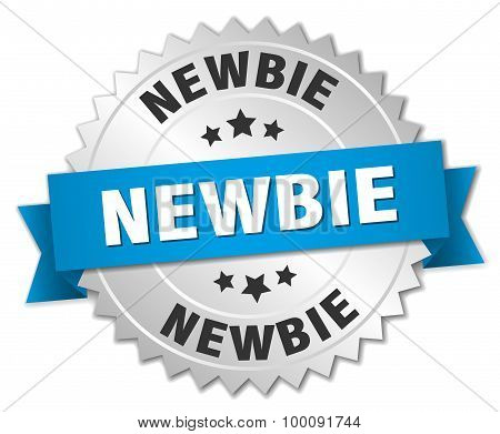 Newbie 3D Silver Badge With Blue Ribbon