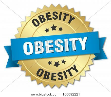 Obesity 3D Gold Badge With Blue Ribbon