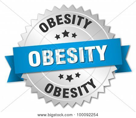 Obesity 3D Silver Badge With Blue Ribbon