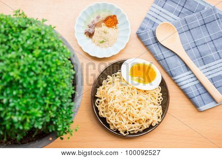 Noodles and eggs on the table ready to eat foods beautiful composition