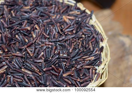 raw purple Riceberry rice, Thai Hom Nil ( black jasmine rice )