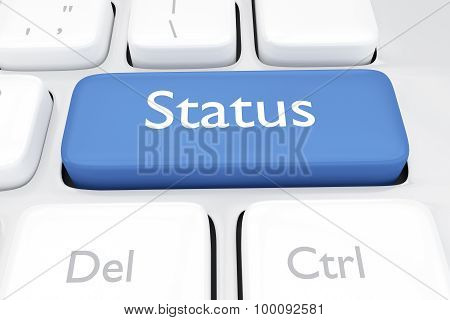 3D Render Illustration Of Online Status Keyboard Key