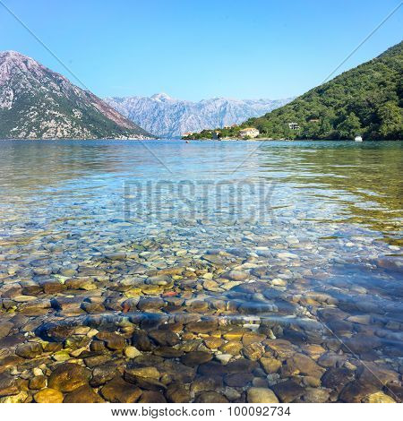 Pebbles In The Water And Mountain View In Montenegro, Kator