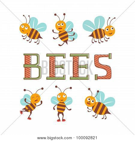 Cute colorfulbee characters set illustration