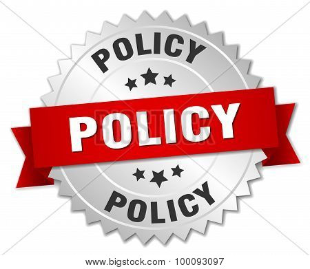 Policy 3D Silver Badge With Red Ribbon