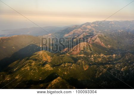 Nice Mountain And Sea View. Kotor. Montenegro. Aerial View. Sunrise.