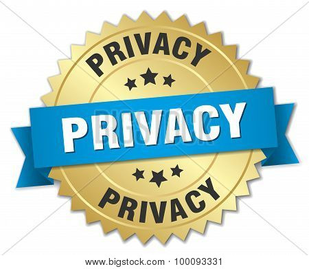 Privacy 3D Gold Badge With Blue Ribbon