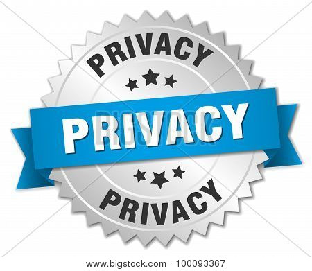 Privacy 3D Silver Badge With Blue Ribbon