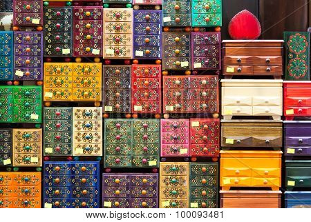 The variety of wooden handmade boxes.