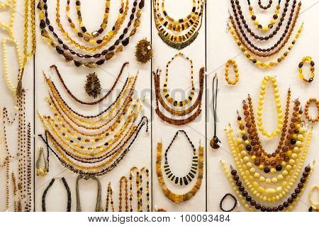 The variety of colorful  amber necklaces.