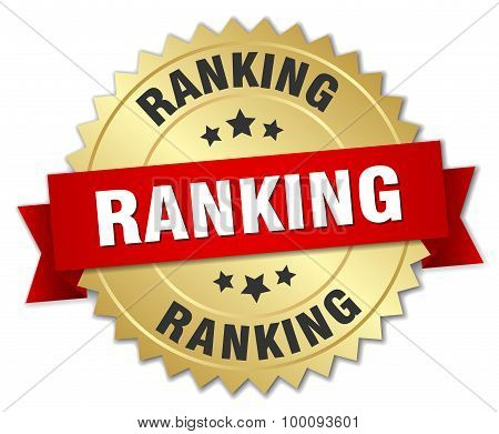 Ranking 3D Gold Badge With Red Ribbon