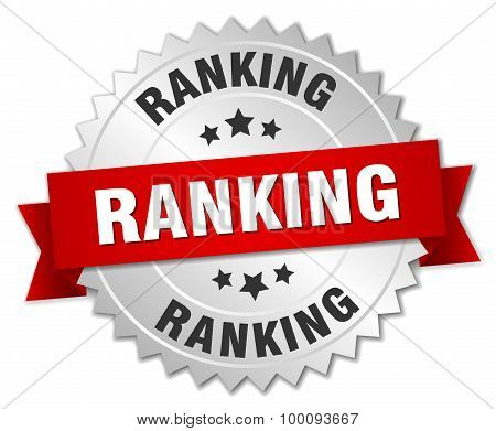 Ranking 3D Silver Badge With Red Ribbon