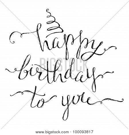 Hand-written Happy Birthday Lettering.
